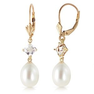 GOLD LEVER BACK EARRING WITH WHITE TOPAZ & PEARLS